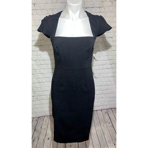 Lark & Ro Pleated Square Neckline Sheath Dress